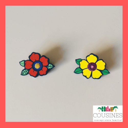 broche en bois flower power