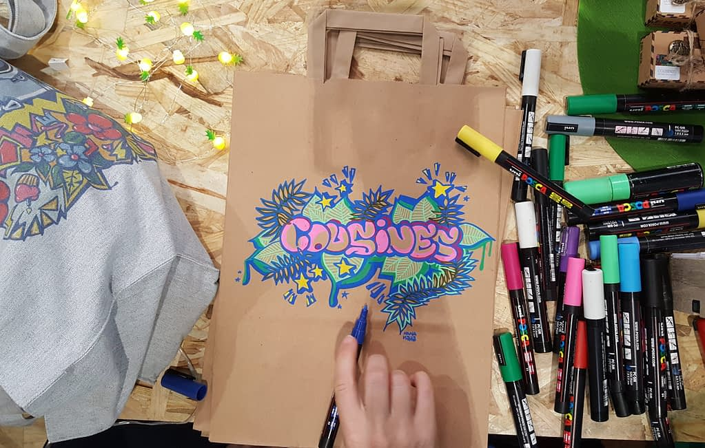 Customisation de sac kraft en live