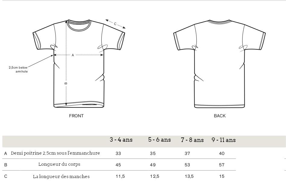 Guide des tailles t-shirt garçon